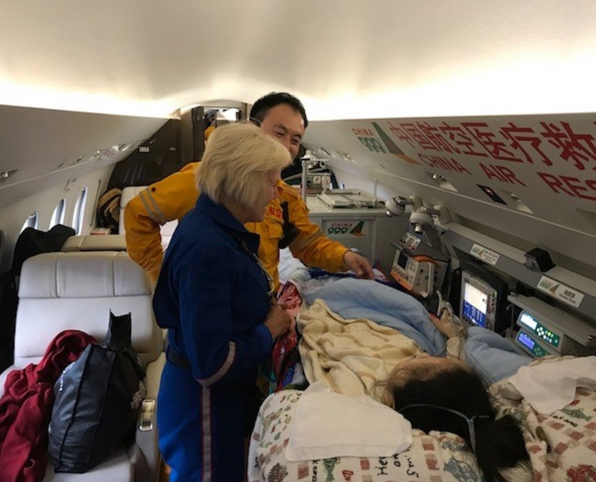 US Commercial Airline medical Escort flight nurse in China